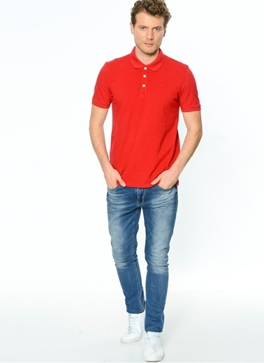 Mustang Polo Yaka Tişört Kırmızı